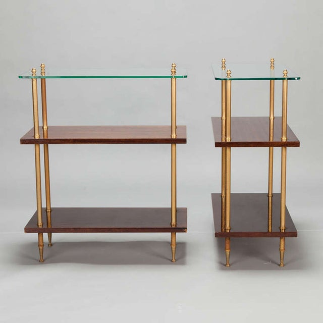 Glass & Walnut 3-Tier Side Tables - A Pair - Image 3 of 5