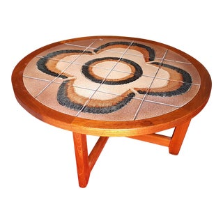 Mid-Century Round Floral Design Tile Inlay Coffee Table