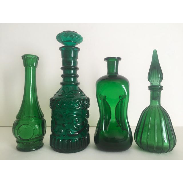 Vintage Mid-Century Modern Collected Green Glass Bottles - Set of 4 - Image 3 of 11