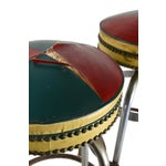 Image of Pub Stools with Leather Seats - Pair