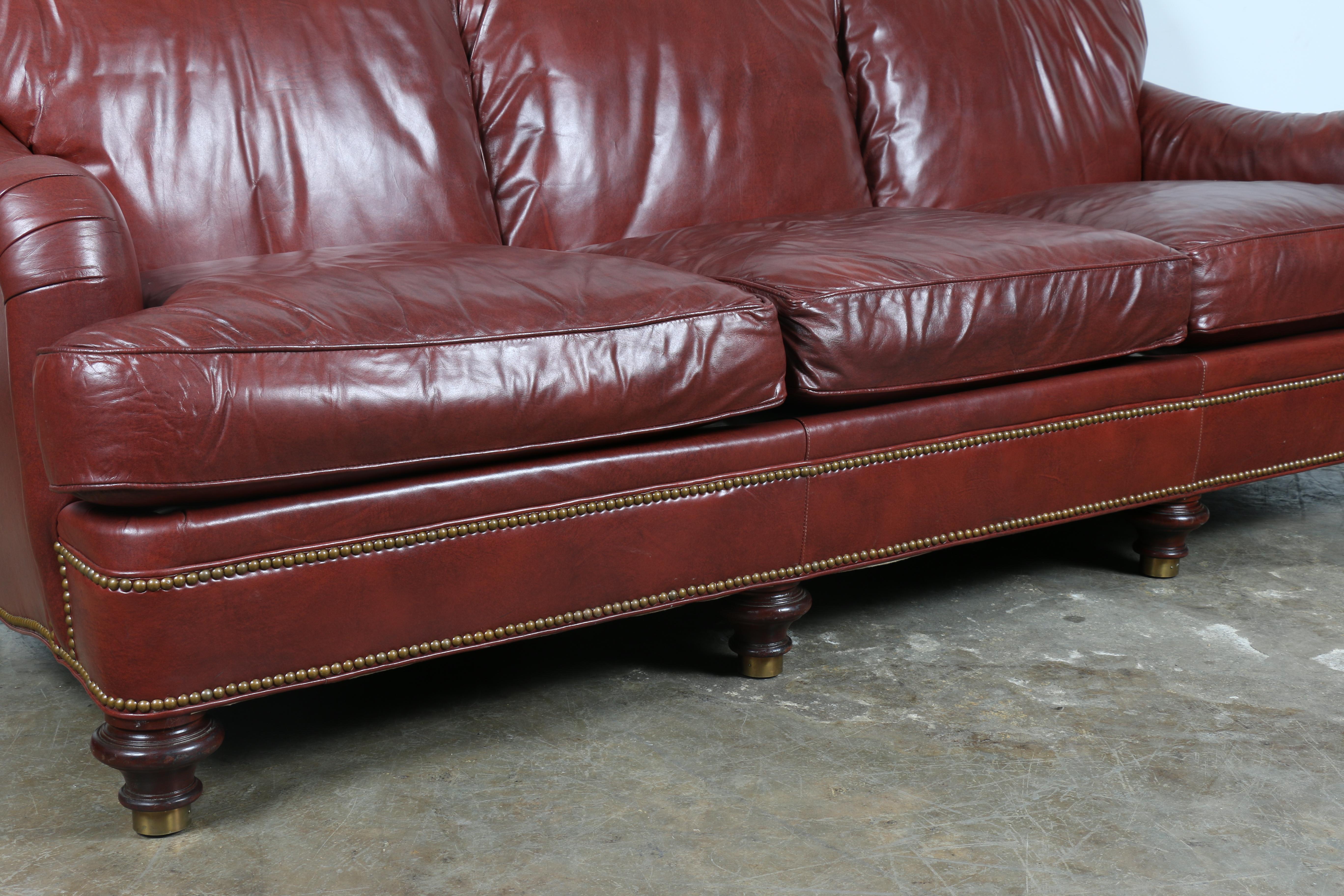 1970u0027s Hickory Leather Sofa   Image 5 Of 11