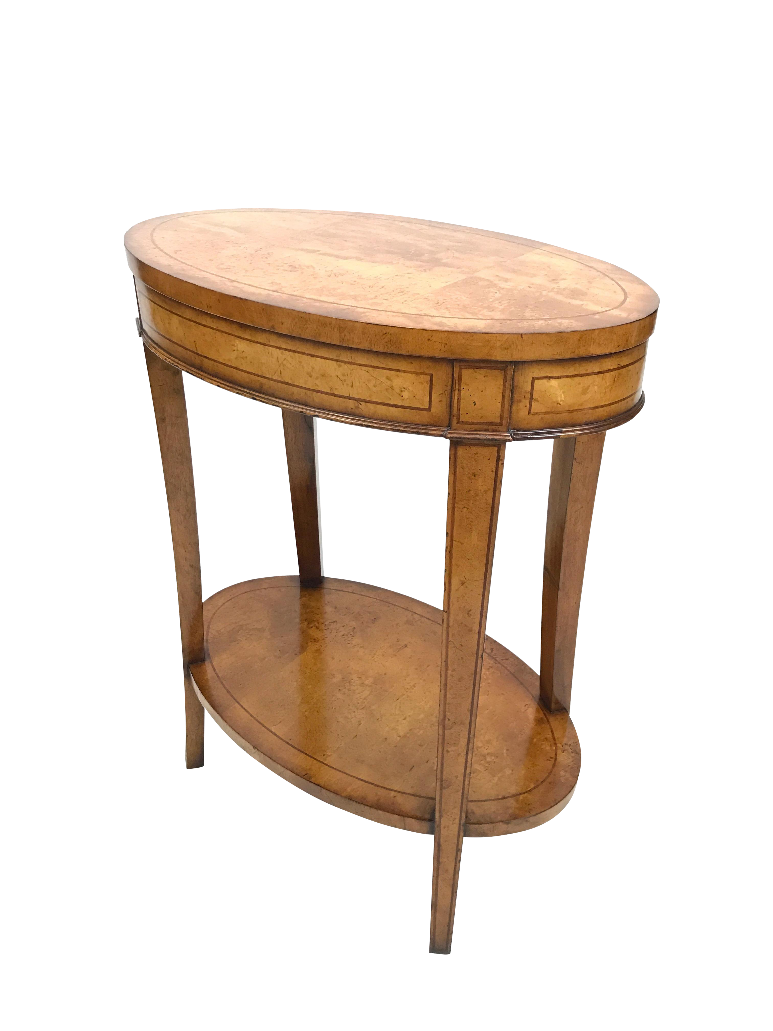 Jonathan Charles Oval Birchwood Side/Accent Lamp Table
