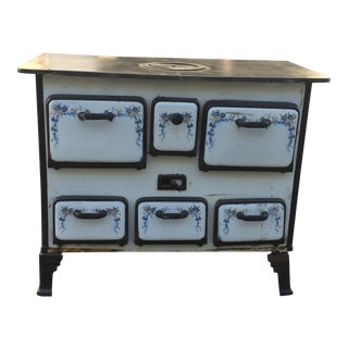 1850s Blue & White Antique Stove & Oven