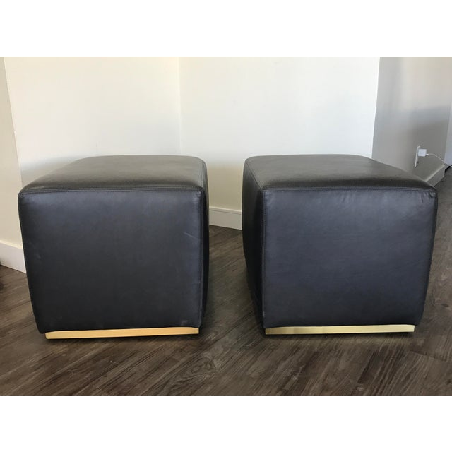 Restoration Hardware Modern: Restoration Hardware Modern Rex Leather Ottomans- A Pair