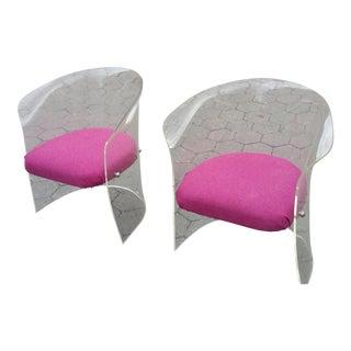 1970's Mid-Century Flexuous Lucite Chairs - A Pair