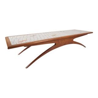 Vladimir Kagan Style Mid-Century Modern Tile-Top Coffee Table
