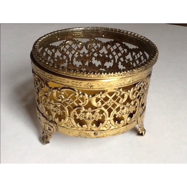 Vintage Gold Filigree Ornate Jewelry Box - Image 2 of 5