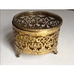 Image of Vintage Gold Filigree Ornate Jewelry Box