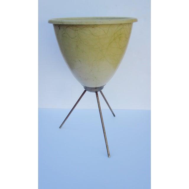 Image of Fiberglass Bullet Planter MCM Tripod Brass Base