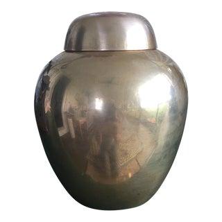 Hollywood Regency Brass Ginger Jar