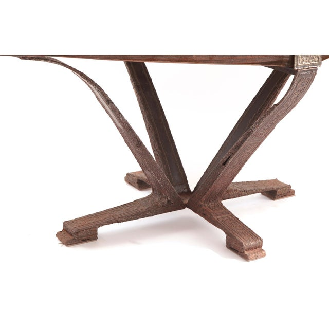 Image of Brutalist Steel & Pine Dining Table & Chairs - Set of 7