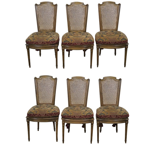 French Louis XVI Caned Dining Chairs - Set of 6 - Image 1 of 10