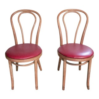 Thonet Style Bentwood Upholstered Chairs - a Pair