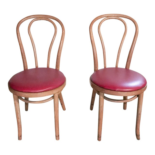 Thonet Style Bentwood Upholstered Chairs - a Pair - Image 1 of 9