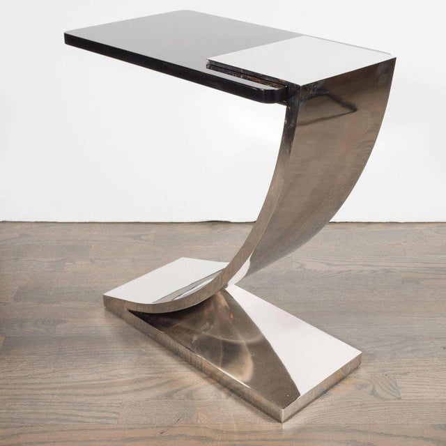 Sophisticated Modernist Polished Nickel and Black Lacquer Side or Drinks Table - Image 3 of 8