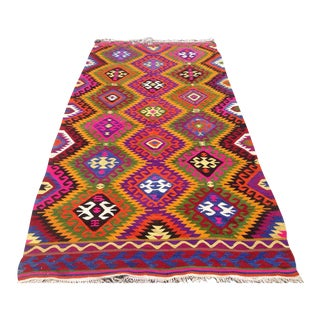 Vintage Turkish Kilim Rug - 5′4″ × 9′2″