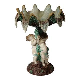 French Hand-Painted Cherub Barbotine Vase