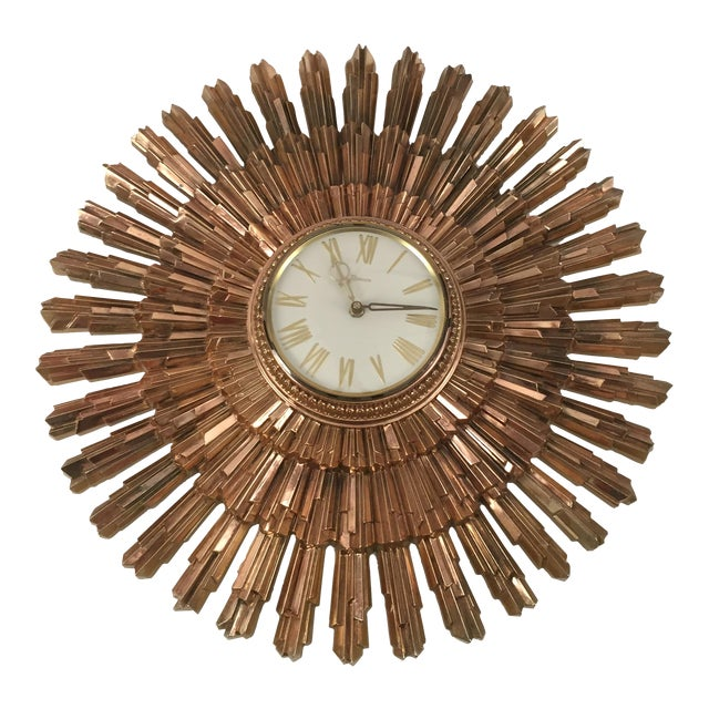Mid-Century Syroco Sunburst Wall Clock - Image 1 of 11
