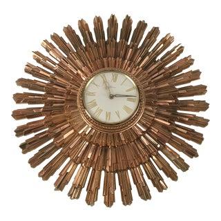Mid-Century Syroco Sunburst Wall Clock