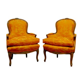 Louis XV-Style Chinoiserie Bergères- A Pair