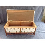 Image of Vintage Brass Accented Rattan Blanket Chest