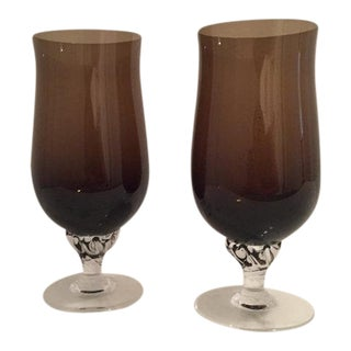 Vintage Dark Brown Pedestal Goblets - Pair