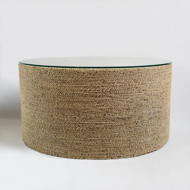 Round seagrass rope coffee table chairish for Round rope coffee table