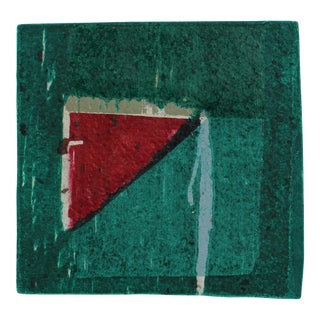 Small Abstract Collograph Print in Green, 20th Century