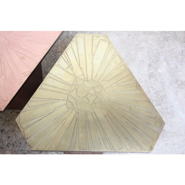 Pair of Italian Etched Copper and Brass Side Tables by G. Urso - Image 6 of 11