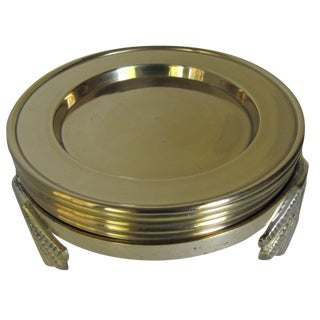 Brass Coasters in Scallop Shell Holder - Set of 5