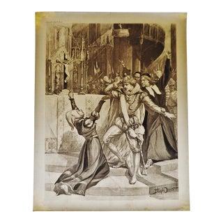 """1900 Antique Le Prophete """"The Prophet"""" Opera Photogravure by J Steeple Davis"""