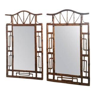 Pagoda Faux Bamboo Large Wall Mirrors - a Pair