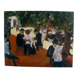 Colorful Impressionistic Painting of Cafe Scene