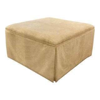 Caracole Storage Draw Skirted Off-White Velvet Ottoman