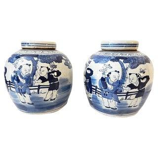 Blue and White LG Ginger Jars