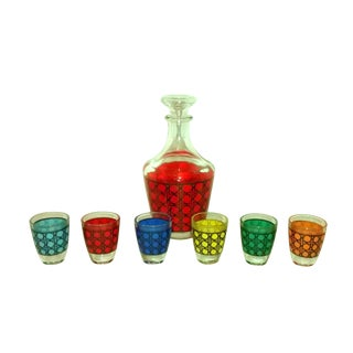 Vintage French Decanter & Shot Glasses Set