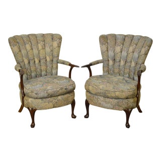 1940s Jamestown Royal Upholstered Fan Back Arm Chairs - A Pair