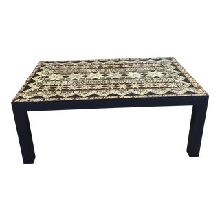 Polynesian Tapa Cloth Coffee Table