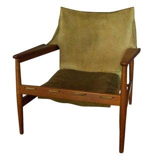 Vintage Hans Olsen Suede Sling Chair