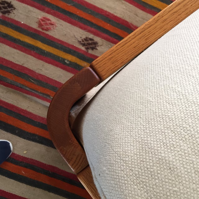 Vintage Wood and Linen Armchair - Image 7 of 11