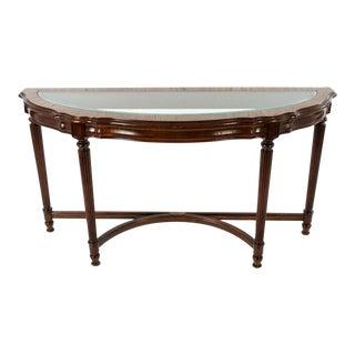 Vintage Glass Top Demilune Console Table