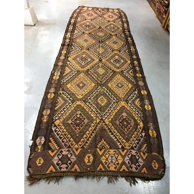 Vintage Anatolian Kars Kilim Rug - 4′8″ × 14′8″ - Image 2 of 8