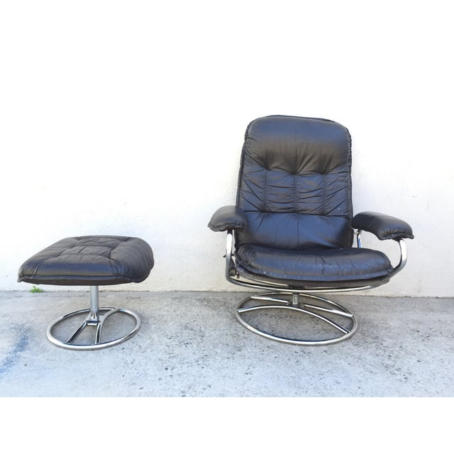 Mid-Century Italian Leather Chair and Ottoman - Image 9 of 11