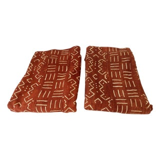 African Chocolate & Ivory Mud Cloth - Pair