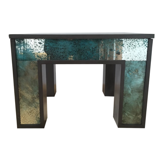 Mirror Side Table w/ Gray Washed Wood Top - Image 1 of 9