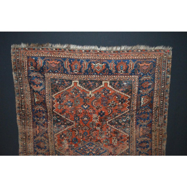 "Distressed Antique Persian Tribal Rug - 3'7"" X 4'9"" - Image 3 of 9"
