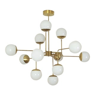 Classic Italian Modern Brass Chandelier With Glass Globes, Model 420