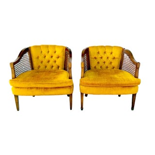 Vintage Gold Sam Moore Cane Barrel Chairs - Pair