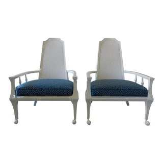 Vintage Rattan Back Arm Chairs - A Pair