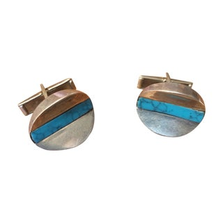 Vintage Silver and Turquoise Cuff Links